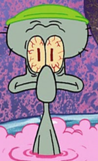 Squidward Wearing a Shower Cap