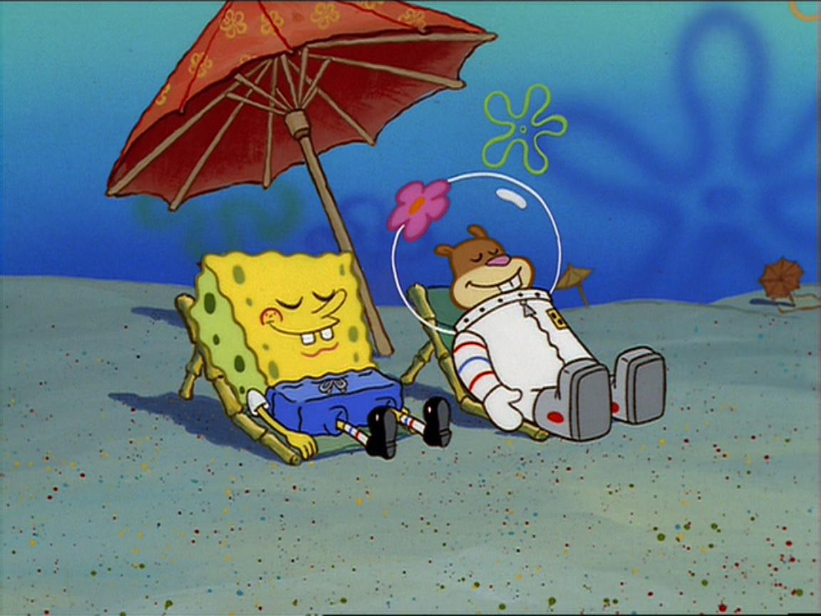 Spongebob and sandy sunbathing