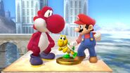 Mario and Yoshi are looking at Koopa Troopa Trophy