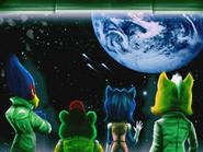 The Star Fox team looks through a window