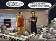 Odo and O'Brien in docking bay 5