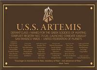 Defiant Class Artemis Dedication Plaque