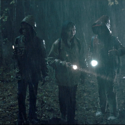 Mike, Lucas, and Dustin searching for Will on Mirkwood.