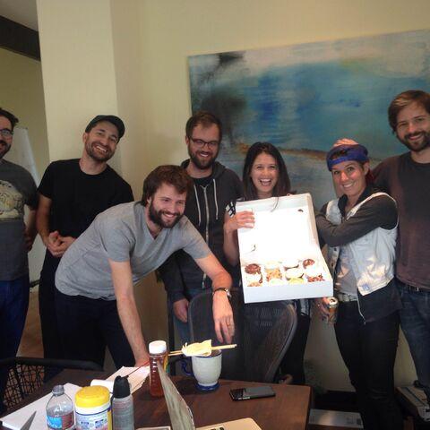 The writer's room celebrating Jessie's birthday on September 13, 2016.