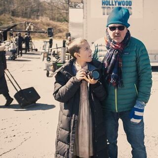 Tim Ives on set with Millie Bobby Brown
