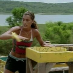 Stephenie competing in the final four Immunity Challenge, <a href=