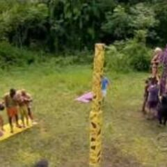 Foa Foa competes their tower, winning them their first immunity