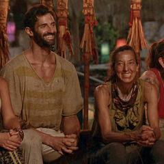 Michele, Nick, Debbie, and Jason at Tribal Council.