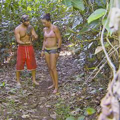 Sarah and Tony talking at camp.