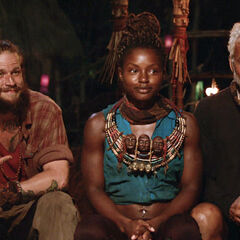 Jason, Cydney, and Joe at Tribal Council.
