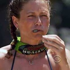 Corinne competing in the disgusting food eating challenge.