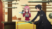 Kirito testing Lisbeth's sword