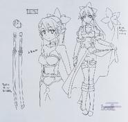 Leafa lineart Anime Sword Art Online no Subete artbook
