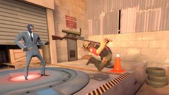 Spy backstabbing the Sniper Dustbowl TF2