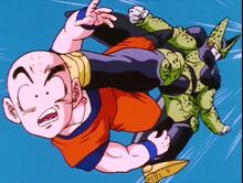 Krillin hit by Cell
