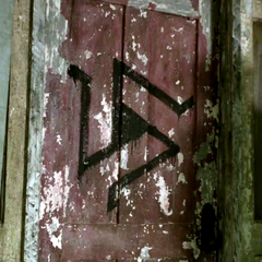 Alpha Pack symbol on the door