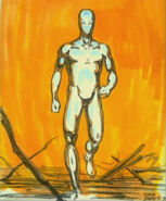 Clip art of the T-1000 in the fire