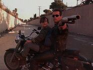 Terminator and jhon on the bike