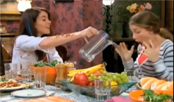 Patricia spills water on nina