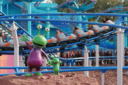 The Backyardigans Mission to Mars Roller Coaster at Movie Park Germany Boinga and Mommy Martian Statues
