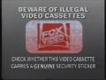 Fox Video Piracy Warning (1991) Hologram