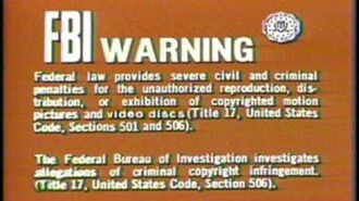 CBS Fox Video Warning Screen 1981-1984, 1987 Laserdisc