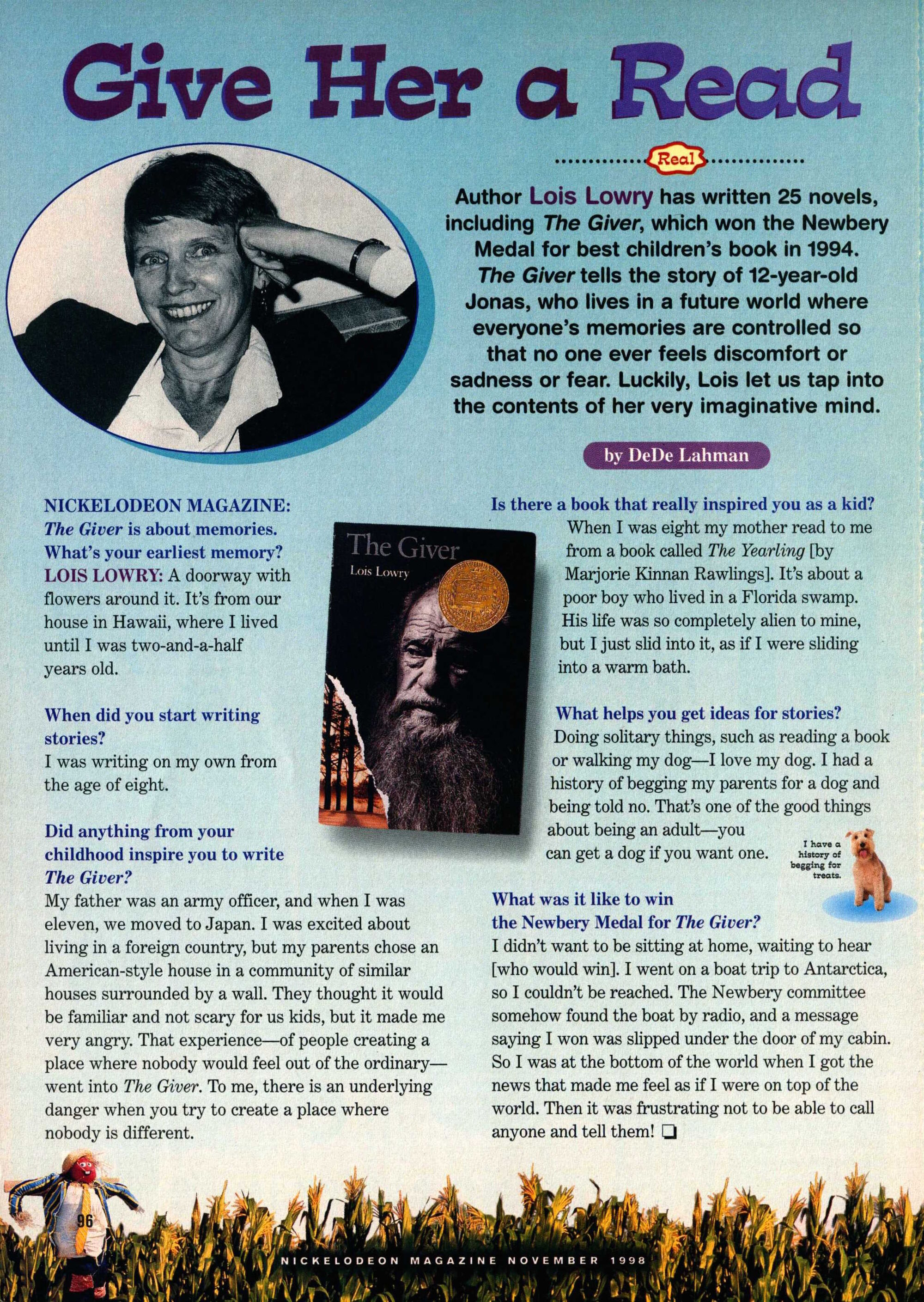 image nickelodeon magazine lois lowry the giver image nickelodeon magazine 1998 lois lowry the giver interview jpg the giver wiki fandom powered by wikia
