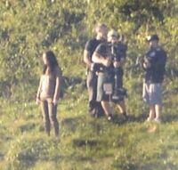 Jen on set of Mj -5