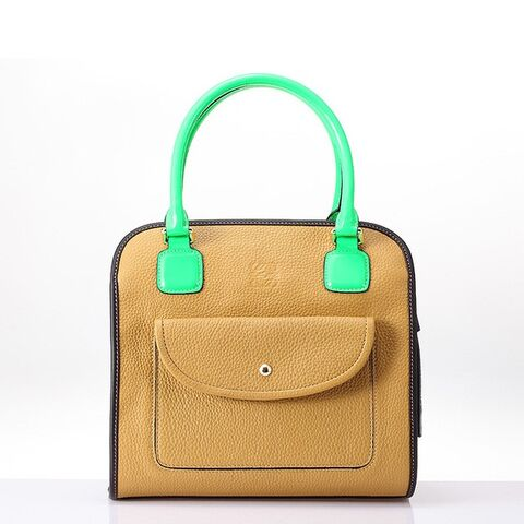 File:Loewe Amazona Bag Brown With Fluorescent Green Handle.jpg