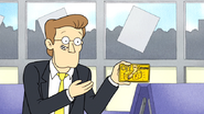 S6E03.046 Chaz Melter Holding the Cut the Cheezer's Card