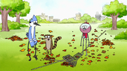 S2E11.032 Mordecai and Rigby Dropping Their Rakes
