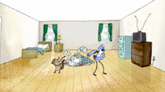 S3E34.083 Mordecai and Rigby Throwing the Clothes in a Pile
