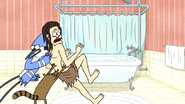 S4E17.066 Mordecai and Rigby Pushing Gregg Towards a Bathtub