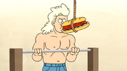 S4E13.010 Blonde Guy Eating a Death Sandwich While Doing Pull Ups