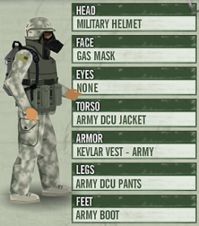 UC complete military outfit