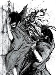 Ayato rips off Touka's kagune