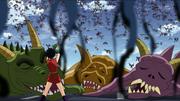 Rin puts Scum Beasts to sleep