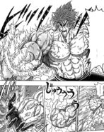 Toriko melting the ice on his hand