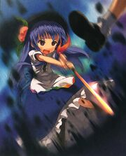 Official art of Tenshi wielding the Sword of Hisou from The Grimoire of Marisa