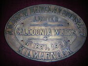 Andrew Barclay locomotive plaque