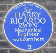 Blue plaque Harry Ricardo