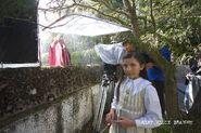 Emma Tremblay (Young Alice) and Barbara Beall (Lillian Brandon) shooting the rain scene