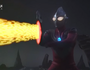 Tiga Power fires Zepellion Ray to Gatanothor