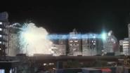Ultraman uses Specium Ray to finish Golza