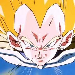 Vegeta as a Super Saiyan flying to Cell.
