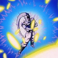Vegeta's energy blasts bounce off Super Buu's forcefield.