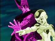 Cell and frieza attacked goku opposite colours