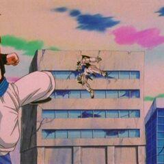 Gogeta after kicking Omega Shenron