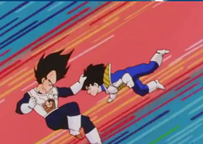 Vegeta grabs gohan by the hair