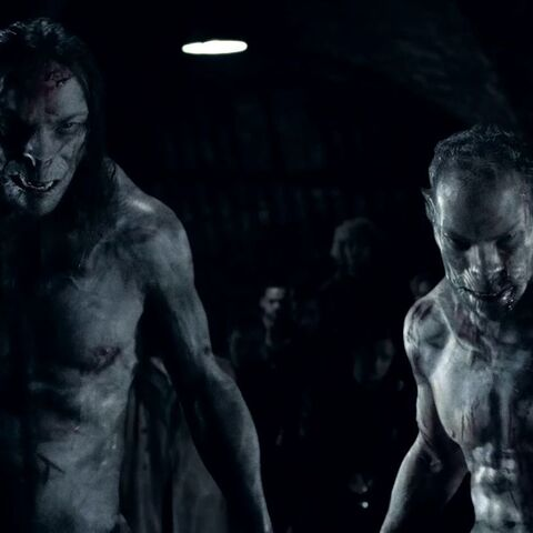 Taylor and Pierce shifting from their Werewolf to human forms.
